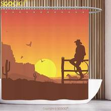 Fun Shower Curtain Western Decor Silhouette of Cowboy in Wild West Sunset Landscape American Culture Image Artsy Print Burnt(China)