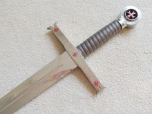 "S0076 TOLEDO TEMPLAR KNIGHT CRUSADER RED CROSS SWORD W/ CRESCENT WALL MOUNT 40""(China)"