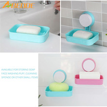 ABEDOE New Soap Dish Strong Suction Cup Wall Tray Holder Soap Storage Box For Bathroom Shower Tool for Bathroom Kitchen Sponge(China)