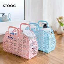STOOG 3 Color Folding Hollow Bathing Storage Basket Plastic Hand Batroom Baskets Portable Organizer Case Home Supplies(China)