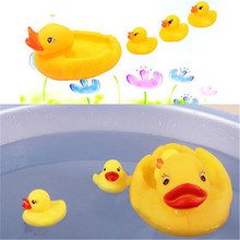 NEW 1 Set Cute Yellow Four Ducks Baby Infant Kids Bathing Floating Rubber Bath Toys Gift