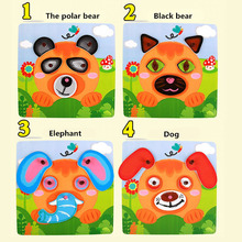Wooden Puzzles Toy Kids Animals Puzzle Brinquedo Wooden Puzzles Toys EP Safe Wooden Stereo Jigsaw Drawing Board Educational Toys(China)