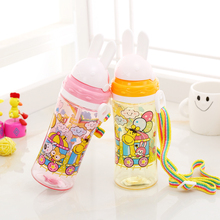 Cartoon Water Bottle Kid handgrip Baby Cute Bear straw Water Bottle Children Kettle Sports Tumbler BPA Free