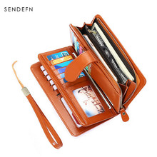 hot sale Brand Wallet Split Leather Wallet Female Long Wallet Women Zipper Large capacity Purse Strap Coin Purse For iPhone(China)