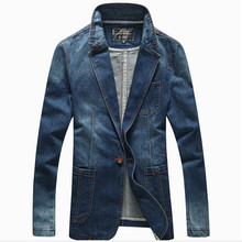 2016 New Fashion Denim Casual Jacket Men Cotton Suit Jacket Men Blue Coat Men Outerwear Denim Jacket Plus Size 3XL Jean Blazer