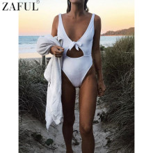 ZAFUL 2017 One Piece Swimwear Women Sexy High Cut Swimsuit Backless Hollow Out Monokini Bathing Suit Bodysuit Bowknot Beach Wear