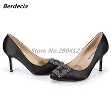 Berdecia High Heels Shoes Woman Pump Wedding Shoes Square Crystal Decor 10 Colors Famous Style Super Fashion Zapatos Mujer Stars