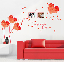 Factory outlets] AY7176B love blue grass photo frame wall stickers removable PVC transparent film 09