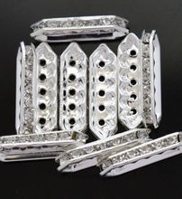 Lots 20pcs Plated Clear Silver Rhinestone 3 /5 Hole Spacer Bars Beas for Jewelry Findings 13/20/27/35mm(China)