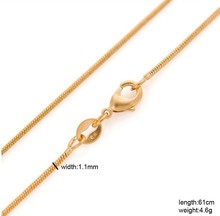Buy Classic 60cm long 18kGF gold filled franco snake Chain men women 24inches 1mm 5g gold thin round box necklace & pendant for $4.59 in AliExpress store
