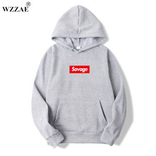 WZZAE 2017New Mens Hoodies Savage Hoodies Parody No Heart X Savage Mode Slaughter Gang ATL Cotton Long sleeved Hoodies Suprem