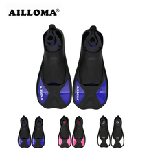 AILLOMA 2017 design Professional Diving Fins Adult Outdoor Water Sports TPR rubber short Shoes Swimming Flipper for Snorkeling(China)