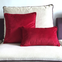 Piping Design Bright Red Velvet Cushion Cover Pillow Case Soft Pillow Cover No Balling-up Without Stuffing(China)