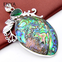 Unique Natural Abalone shell Green Synthetic Crystal Silver Plated Necklace Pendant For Women & Men Gift Jewelry P0423