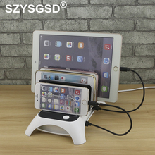 SZYSGSD 5 Ports Multi-Function Desktop USB Charging Station Dock with Stand For Mobile phone tablet PC Black White US UK EU Plug(China)