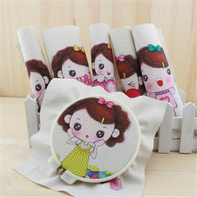 20*20CM 6PCS Cute Big Head Baby Print Hand Dyed Cotton Linen Fabric Sewing DIY Patchwork Hand Embroidery Quilting Bags Tecido