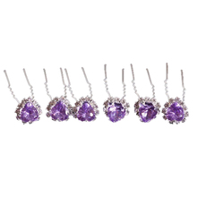 20pcs Bridal Wedding Prom Heart Tear Drop Cz Crystal Rhinestones Hair Pins Clips Stick U Pick Light purple