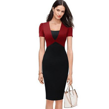 New Style Black Red Patchwork Short Puff Sleeve Women Pencil Dresses Color Contrast Fashion V Neck Work To Wear Office Dresses(China)