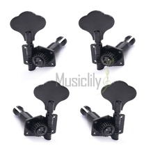 Musiclily Multiple Color Bass Open Gear String Tuning Pegs Keys Machine Heads Tuners 2R2L Set, Black/Chrome(China)
