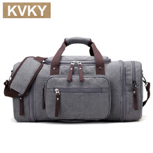KVKY New Men's Travel Bag Large Capacity Handbag Travel Duffle Bags High Quality Canvas Weekend Bags Multifunctional Travel Tote(China)