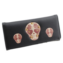 Discount Woman Bag 2017 New Famous Design womens wallets and purses PU leather Rivet Skull Pattern Wallet women Long Purse bolsa