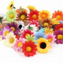 50pcs/lot Silk Flower Daisies Flower Heads decor home garden Color optional high quality(China)