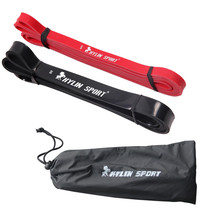 "red and black combination cheaper natural latex 41"" strength resistance bands pull up strengthen muscles for free shipping(China)"