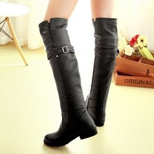 Brand Winter boots over-the-knee boots Fashion belt buckle Women shoes Chunky heel Women Motorcycle boots Black Brown