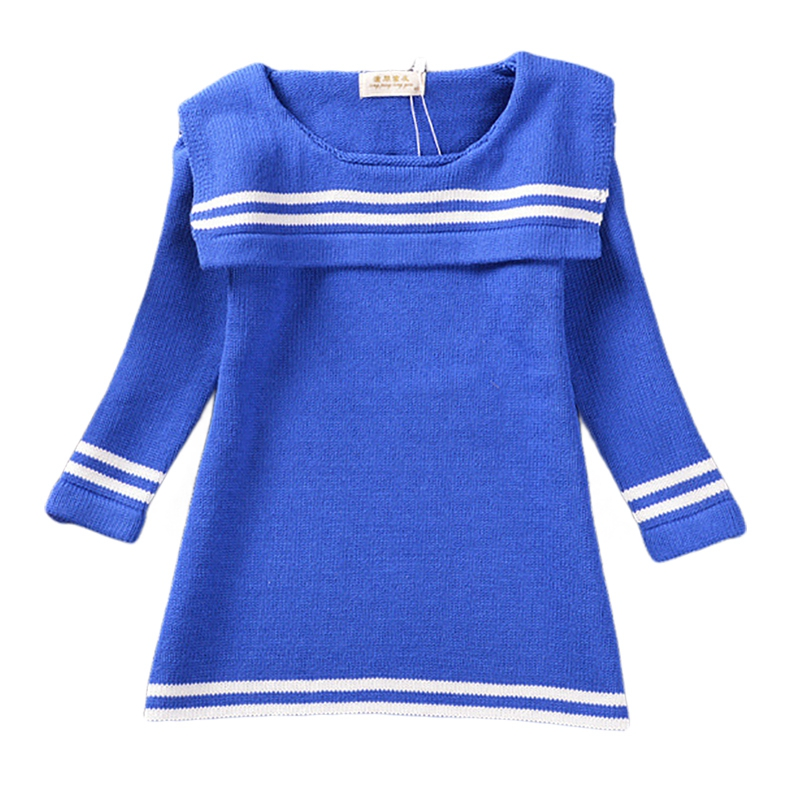 Girls Knitted Cotton Dress 2017 New Casual Marine Costumes Sweater Dresses White Blue Three Quarter Sleeve 2-5 Years GD36<br><br>Aliexpress