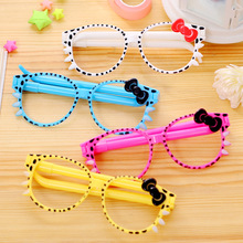 JUGAL 12Pcs/lot New Eye Glasses Hollow Dot Bow knot Creative Decorative Ball Pen Ballpoint Pen Stationery Office School Pen(China)