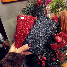 Fashion Luxury Glitter Sequins Hard PC Phone Cases Coque Cover For iPhone 7 7plus 6 6s plus Case Black Bling Accessories Fundas