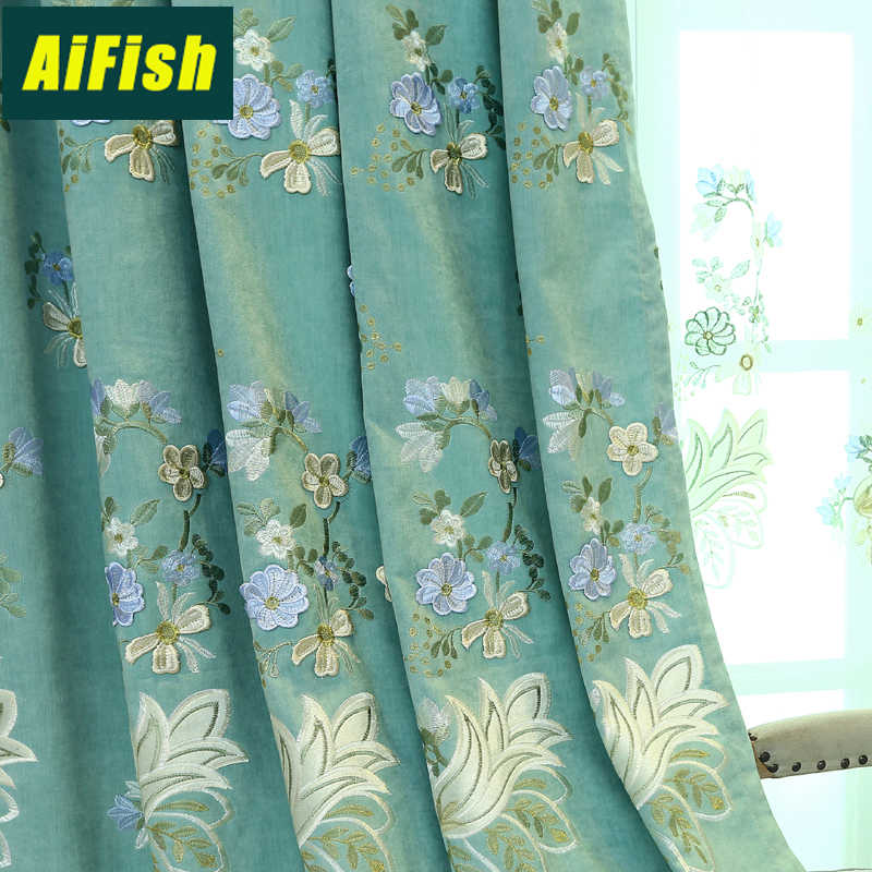 Luxury European Floral Embroidered Blackout Blue Teal&Purple Thick Curtains for Bedroom White Tulle Drapery Living room WP316&4
