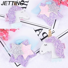 1pcs Kid Hair Barrette Cartoon Animal Hair Clip Glitter Synthetic Leather Unicorn Hairpin Animation Horse Sparkly Star Grips
