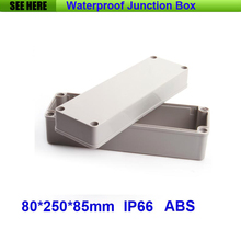 Free Shipping 1 Piece Small Type IP66 ABS Grey Waterproof waterproof plastic enclosure 80*250*85mm(China)