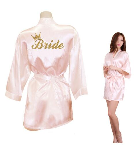 Bride Crown Team Bride Golden Glitter Print Kimono Robes Faux Silk Women Bachelorette Wedding Preparewear Free Shipping(China)