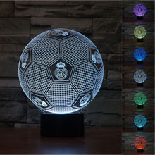 color Changing 3D Illusion Lamp European Champion madrid Soccer ronald Night Light 3D Visual lights Desk Luminaria Football Lamp(China)