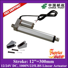 Free Shipping 12V,300mm/ 12 inch stroke, 1000N/100KGS/225LBS load linear actuator with mounting brackets send by China Post(China)