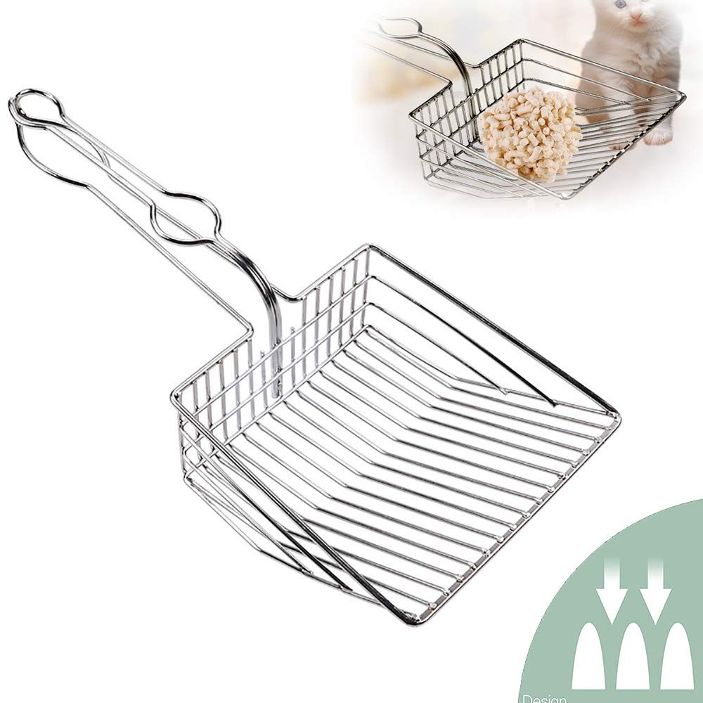 Cat Litter Scooper Stainless Steel Holder Cat Litter Pet Poop Shovel Cat Shovel Metal Scoop Care Tools Pet Cleaning Supplies