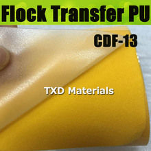 CDF-13 Dark yellow High quality heat transfer flocking PU vinyl, flock pu transfer film for shirts with size 50X100CM