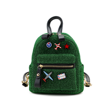 Fashion Bling Green Geometric Women Cartoon Mini Backpacks Designer High Quality School Bags For Teenagers Girls Bag Backpack(China)