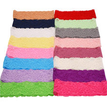 18pcs Lace Knitted ribbon hollowed elastic lace band in floral pattern soft Headband DIY material 18 colors for choice