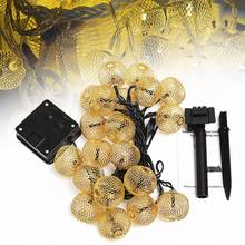 Solar Power Fairy Light Iron Wire Ball 20 LED String Light Curtain Lamp Waterproof Christmas Party Outdoor Garden Decor