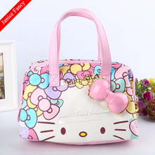 Clearance Sale HelloKitty Cartoon Cute Designer Bolso Mujer Travel Women Cosmetic Storage Shoulder Bags 21*15*12cm(China)