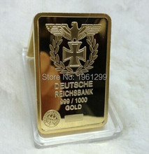 Deutsche Reichsbank 1oz 999 German Eagle replica gold bullion bar.free shipping 2pcs/lot