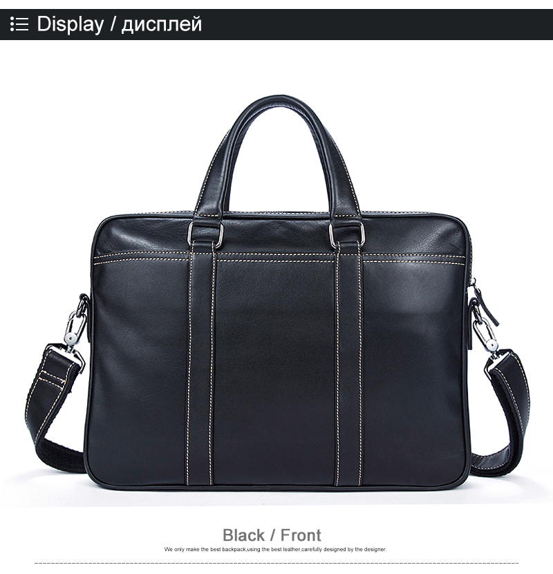 100% Genuine Leather Simple Briefcases Business Men Briefcase Bag 14″ Laptop Bag Casual Man Shoulder bags Crossbody Bags 7612