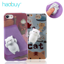 Phone Case for iPhone 6 6S 6 plus 3D Cute Soft Silicone Mini Squishy Cat Cover for iPhone 7 7 plus Cover Sleeping Kitty Coque