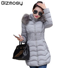 2017 Womens Winter Jackets And Coats Thick Warm Fur Collar Hooded Padded Cotton Parkas Lady Winter Jacket Plus Size BN193