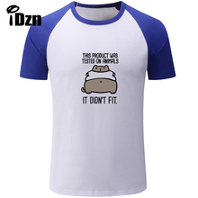 iDzn This Product Was Tested On Animals IT DIDN'T FIT Print Summer Men's T shirt Casual Hipster Funny Male Short Sleeve Tee Tops(China)
