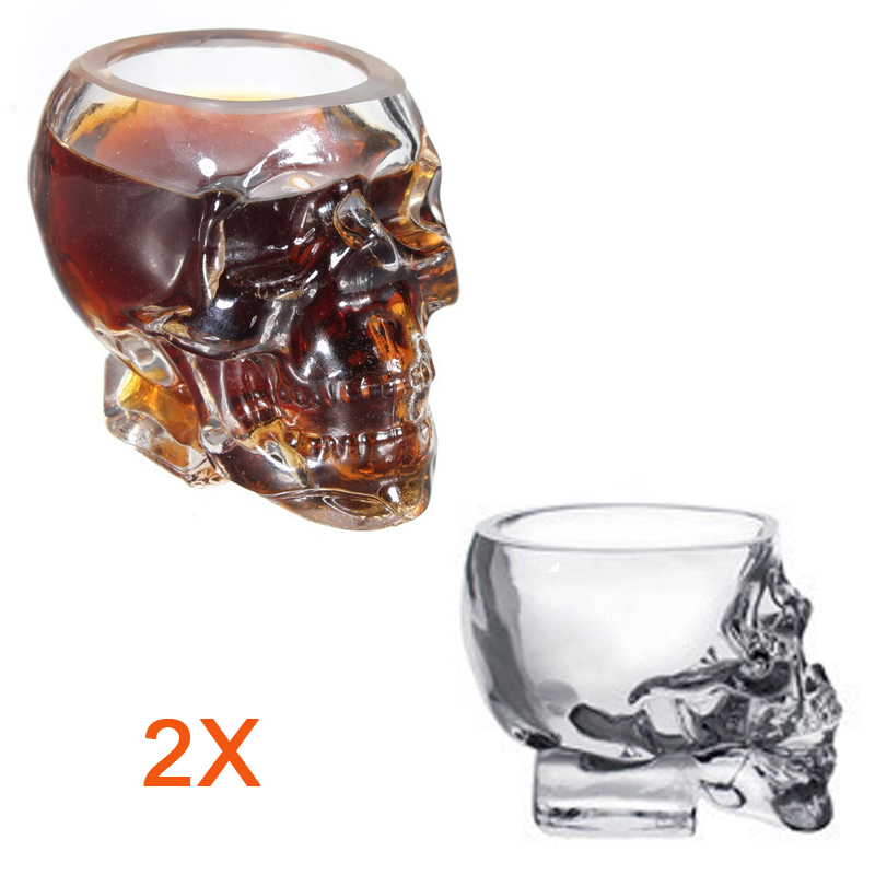 Bar 2pcs 50ml Creative Crystal Skull Head Bone Winebottle Mug Beer Glasses Wine Glass Bottles(China (Mainland))