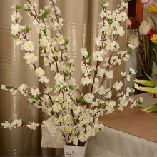 Artificial Cherry Spring Plum Peach Blossom Branch Silk Flower Tree For Wedding Party Decoration white red yellow pink color(China)